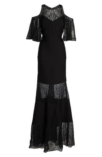 Tadashi Shoji Embroidered Pintuck Cold Shoulder Gown, Black