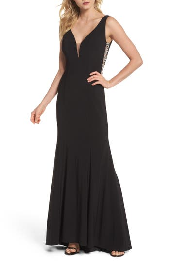 Xscape Cutout Sequin Bodice Gown, Black