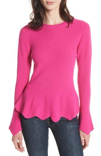 Women's Ted Baker London Peplum Sweater, Size 1 - Pink