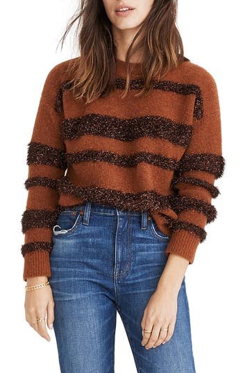 Women's Madewell Tinsel Stripe Sweater, Size XX-Small - Grey