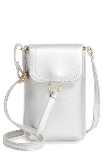 Bp. Tassel Faux Leather Phone Crossbody Bag - Metallic
