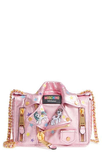 Moschino X My Little Pony Biker Jacket Metallic Leather Crossbody Bag - Pink
