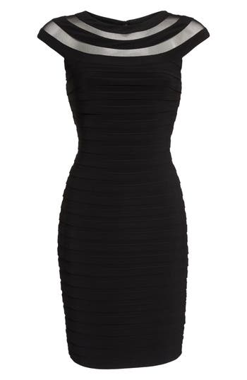 Adrianna Papell Banded Jersey Sheath Dress, Black
