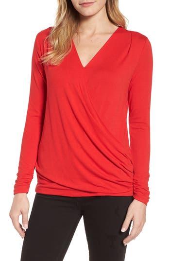 Women's Bobeau Faux Wrap Knit Top, Size Small - Red