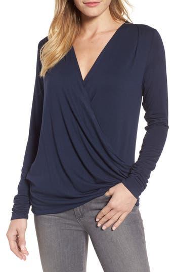 Women's Bobeau Faux Wrap Knit Top, Size Small - Blue