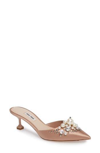 Women's Miu Miu Embellished Pointy Toe Mule at NORDSTROM.com