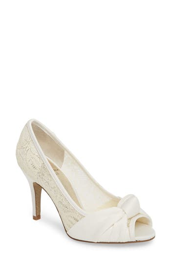 Adrianna Papell Francesca Knotted Peep Toe Pump- White