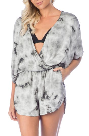 Green Dragon Crystal Forest Eliza Cover-Up Romper, Grey