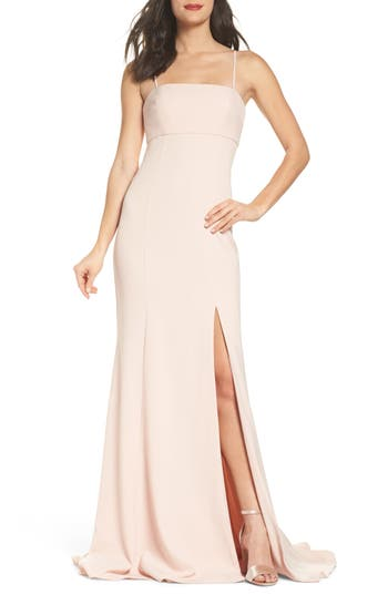 Amsale Detachable Strap Crepe Mermaid Gown, Pink