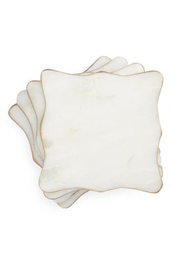 Nordstrom At Home Set Of 4 Marble Coasters, Size One Size - White