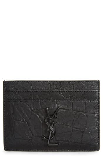 Saint Laurent Croc Embossed Calfskin Leather Card Case