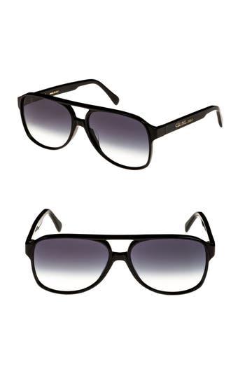 Celine 62Mm Oversize Aviator Sunglasses - Black/ Smoke