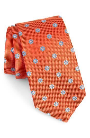 Men's Calibrate Cloisters Neat Silk Tie, Size X-Long - Orange