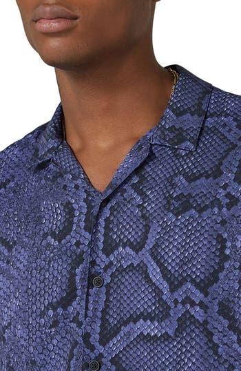 Men's Topman Classic Fit Snakeskin Print Revere Shirt, Size Large - Purple