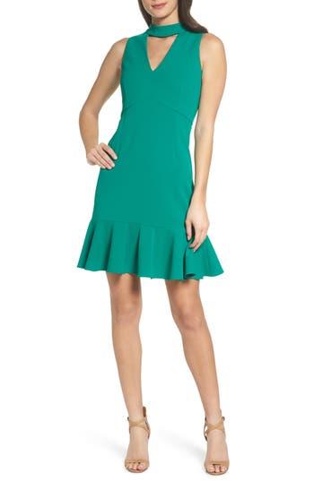 Women's Chelsea28 Choker Flounce Dress, Size 0 - Green