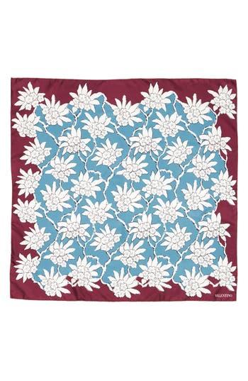 Women's Valentino Garavani Rhododenron Square Silk Scarf, Size One Size - Blue