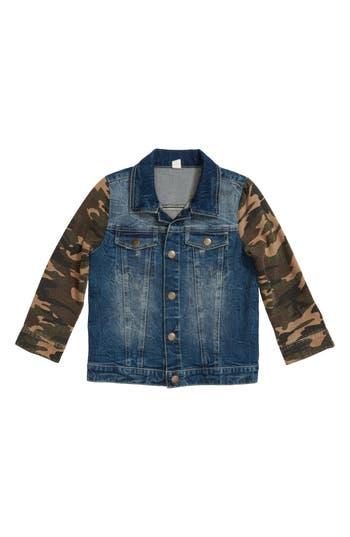 Boys Stem Camo Sleeve Denim Jacket Size 4  Blue