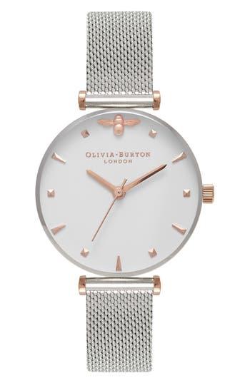 Women's Olivia Burton Queen Bee Mesh Strap Watch, 30Mm