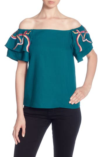 Women's Catherine Catherine Malandrino Ilka Off The Shoulder Top, Size Small - Green