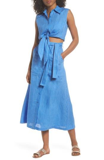 Diane Von Furstenberg Cover-Up Crop Blouse, Blue