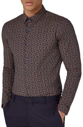 Topman Muscle Fit Paisley Dot Sport Shirt, Blue