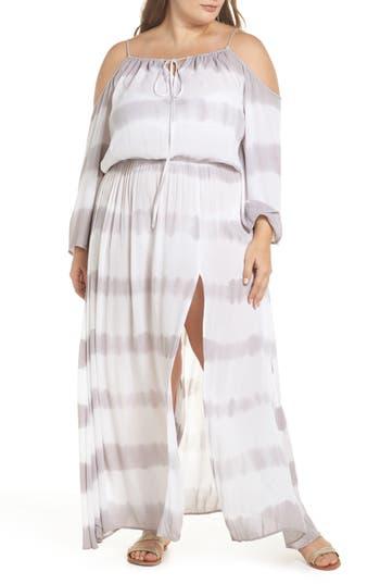 Plus Size Elan Cold Shoulder Cover-Up Maxi Dress
