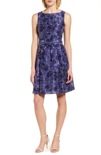 Women's Anne Klein New York Rosewater Shadow Fit & Flare Dress, Size 0 - Blue