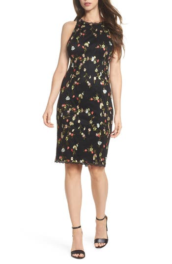 Adrianna Papell Diana Embroidered Sheath Dress, Black