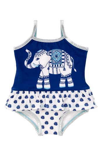 Infant Girl's Masalababy Ruffle One-Piece Swimsuit, Size 12-18M - Blue