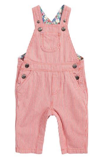 Toddler Girls Mini Boden Ticking Stripe Overalls