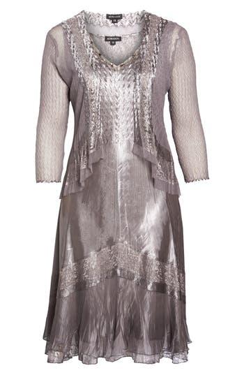 Plus Size Women's Komarov Sleeveless Charmeuse Dress & Chiffon Jacket