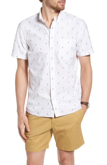 1901 Trim Fit Hula Embroidered Sport Shirt, White