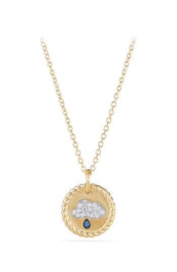 David Yurman Cable Collectibles Raincloud Necklace with Diamonds & Light Blue Sapphires in 18K Gold