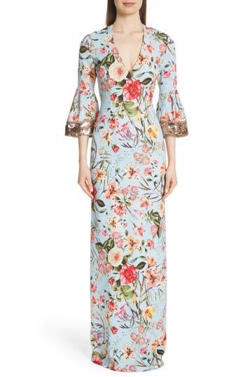 Sachin & Babi Sequin Sleeve Floral Print Gown