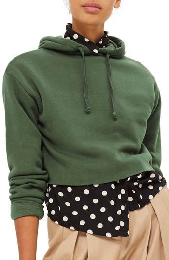 Women's Topshop Crop Hoodie, Size 2 US (fits like 0) - Green