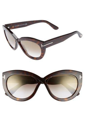 Tom Ford Diane 5m Butterfly Sunglasses - Dark Havana/ Brown/ Gold