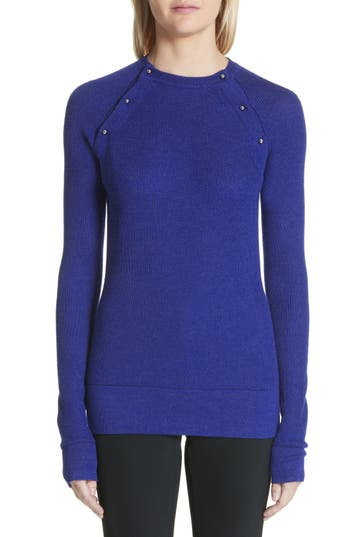 Jason Wu Button Seam Silk & Merino Wool Sweater, Blue