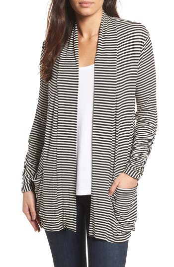 Women's Bobeau Ruched Sleeve Cardigan, Size XX-Small - Black