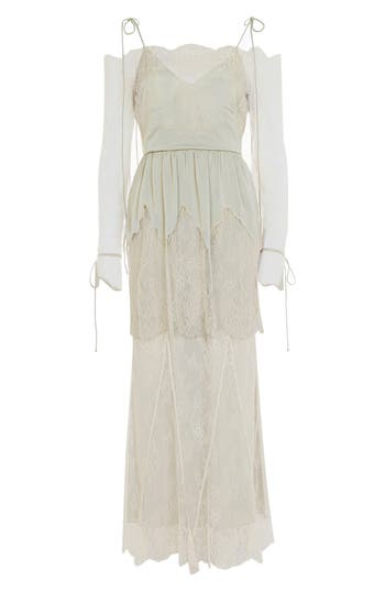 Women's Topshop Bride Bardot Lace Off The Shoulder Gown, Size 6 US (fits like 2-4) - Ivory