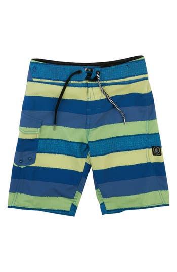 Boys Volcom Magnetic Liney Mod Board Shorts Size 28  Green