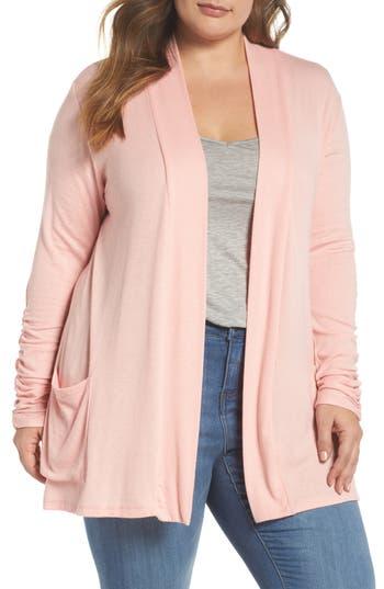 Plus Size Women's Bobeau Shirred Sleeve Cardigan, Size 1X - Pink