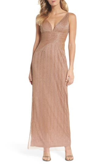 Adrianna Papell Beaded Gown, Metallic