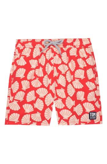 Boys Tom  Teddy Shell Print Swim Trunks Size 56Y  Red