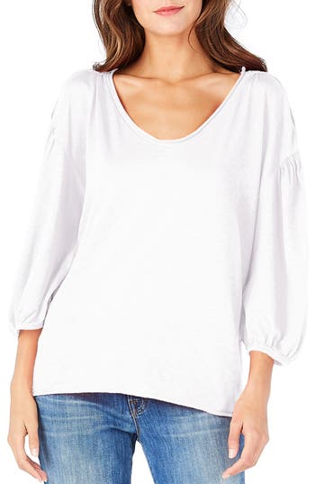 Michael Stars Puff Sleeve Tee, Size One Size - White