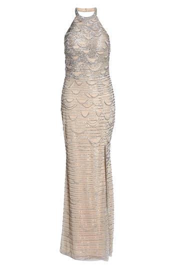 Adrianna Papell Beaded Halter Gown, Metallic