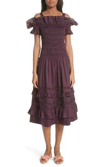 Rebecca Taylor Cold Shoulder Smocked Cotton Dress, Purple