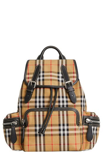 Burberry Medium Rucksack Check Cotton Backpack - Beige