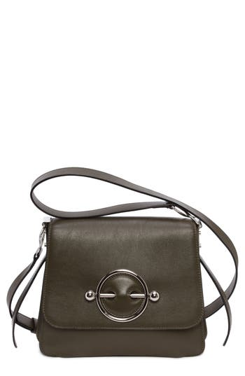 J.W.ANDERSON DISC LEATHER CROSSBODY BAG - GREEN