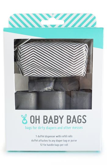 Infant Oh Baby Bags Portable ClipOn Dispenser With Bags  Grey