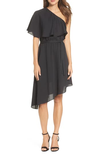 Charles Henry One-Shoulder Asymmetrical Dress, Black